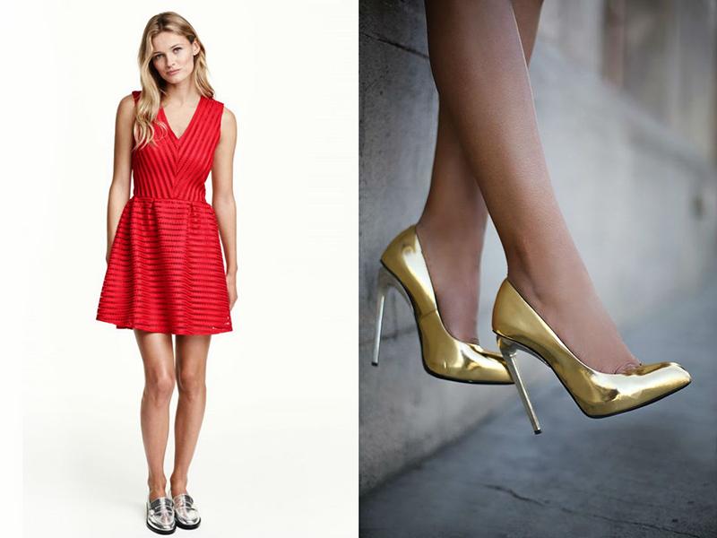 dcda7b36596 Туфли оттенков драгоценных металлов – отличный вариант для вечернего образа  на базе красного платья. Если выбрана такая обувь