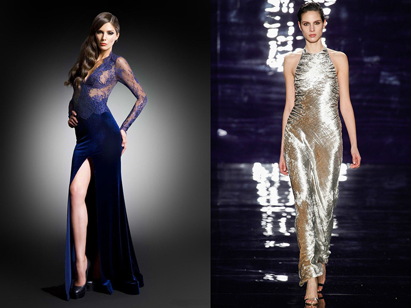 fe030727e85b054 Оригинально смотрятся бархатные платья с юбкой в пол, дополненные вставками  из шифона, кружева и других ажурных материалов.