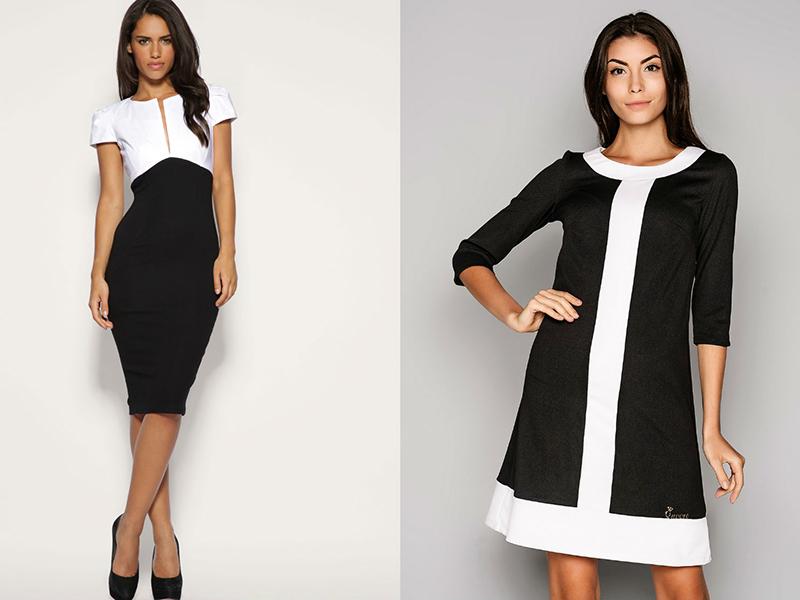 444adb7517d1f3c Легко и изысканно выглядит платье-трапеция из сатина или шелка. Такие  двухцветные модели — белый верх и черный низ у платья в виде узоров или  геометрических ...