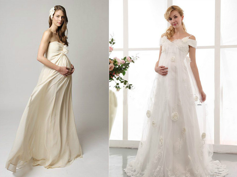 e119d85eb5c6487 Платья с сильно завышенной линией талии и летящей юбкой – это прекрасный  выбор для беременной невесты. Это самые популярные свадебные платья, ...