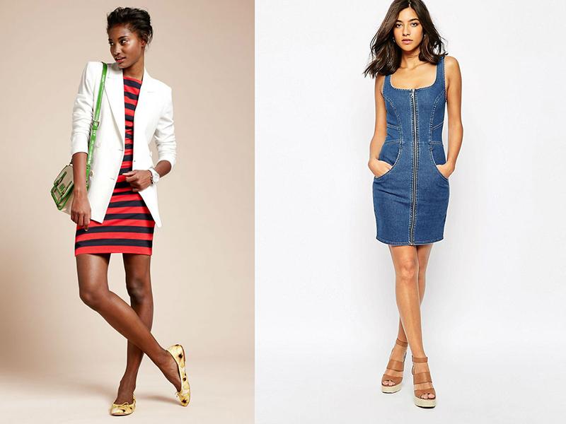 Платье в обтяжку ниже колена с чем носить фото