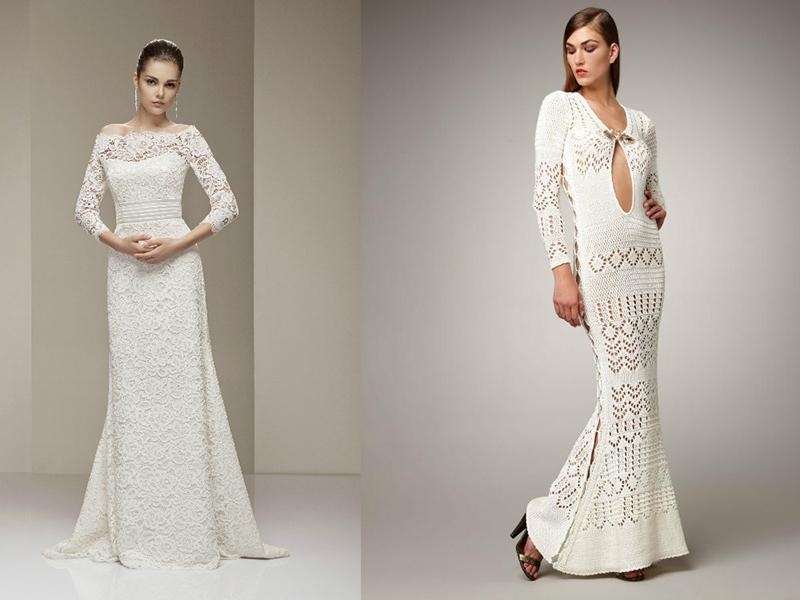 вязаное свадебное платье уникальный наряд невесты мода от кутюрru
