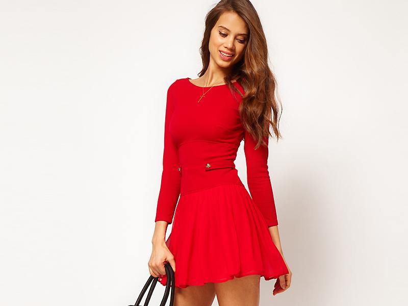 00767428 Красное платье для девушки и женщины