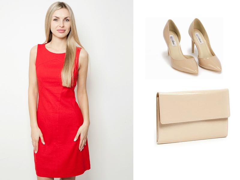 5486291723d Для дневных мероприятий можно подбирать аксессуары в бежевой гамме. Красное  платье футляр можно надеть с бежевыми или кремовыми туфлями. Или подобрать  к ...