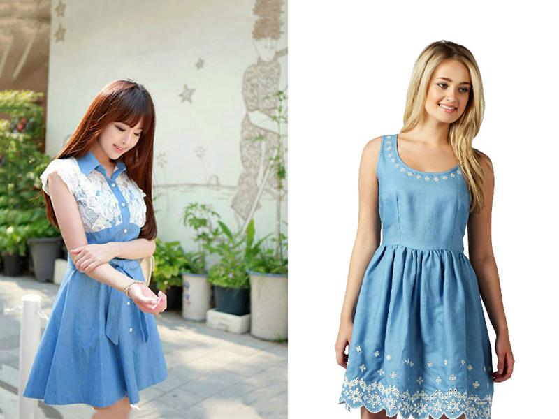 32d88755097 Джинсовое платье с кружевом  актуальная
