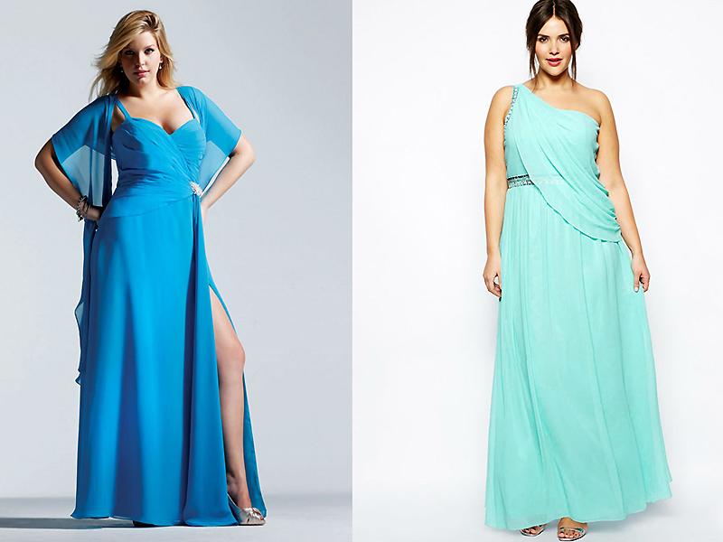 acadd8dda87 Девушкам с пышными формами лучше остановиться на платье в греческом стиле.  Хороши варианты с завышенной линией талии и открытым декольте.