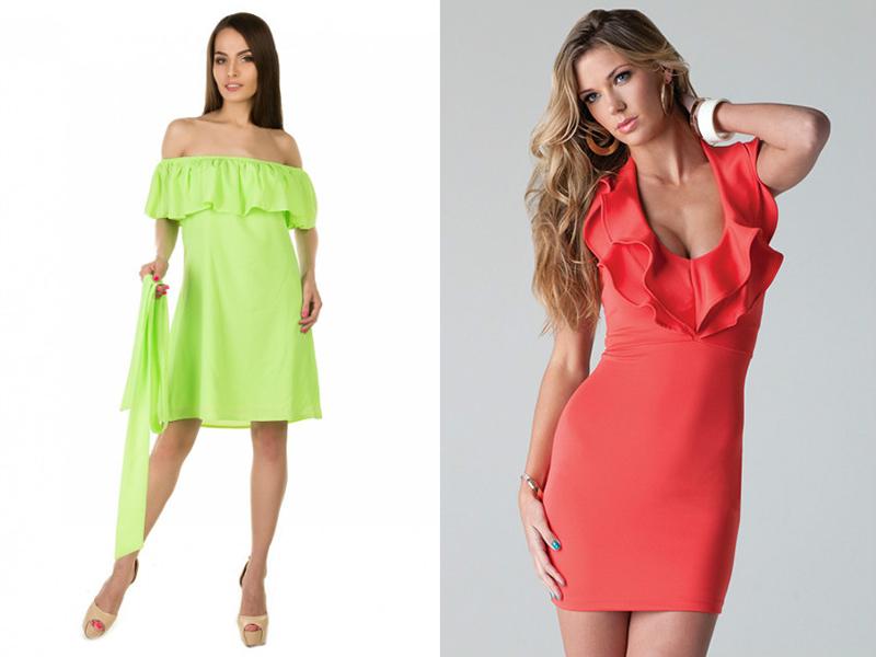 2d1ac1bc42f Фасон с воланом на плечах предлагается для создания праздничных платьев.  Стилисты рекомендуют выбирать такой наряд девушкам пропорционального ...
