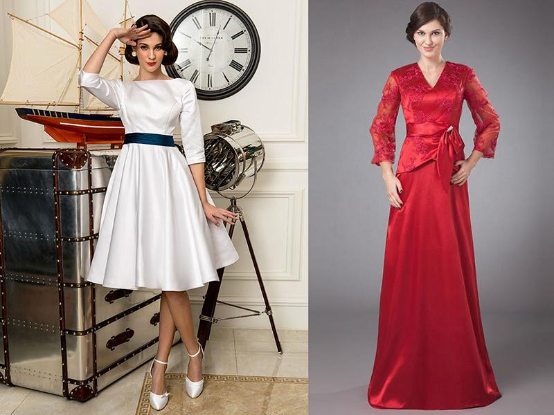 94880810478 Скромно и очень женственно выглядят закрытые платья из атласа. Классический  вариант покроя – облегающий лиф