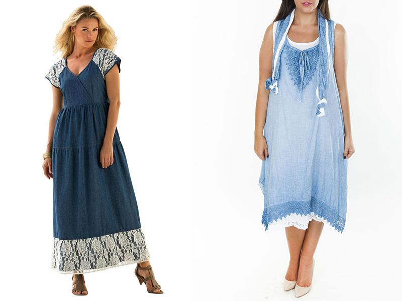 05af4c6a120 Идеальный вариант для полных женщин – свободное джинсовое платье с  умеренным количеством кружевных деталей