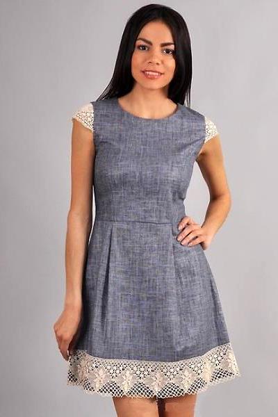 9b8c1e9fd Льняное платье с кружевом – практичность и красота образа | Мода от Кутюр.Ru