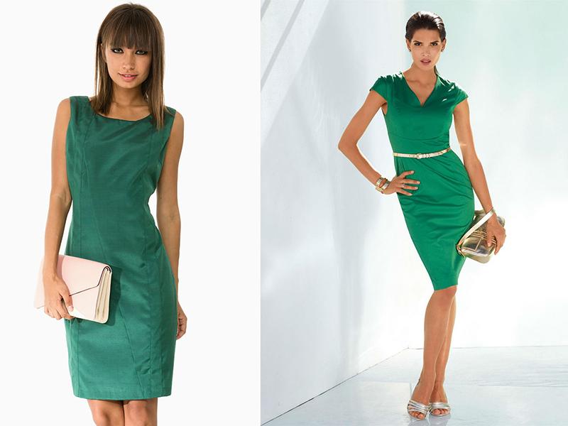 5c35ae811c2 Для свободного времени можно использовать белые и цветные дополнения.  Вечером зеленое платье-футляр будет прекрасно смотреться ...