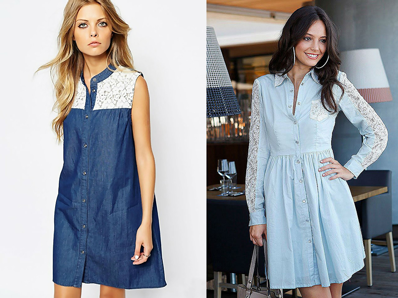 7f8e8d0ac33 Джинсовое платье с кружевом  актуальная