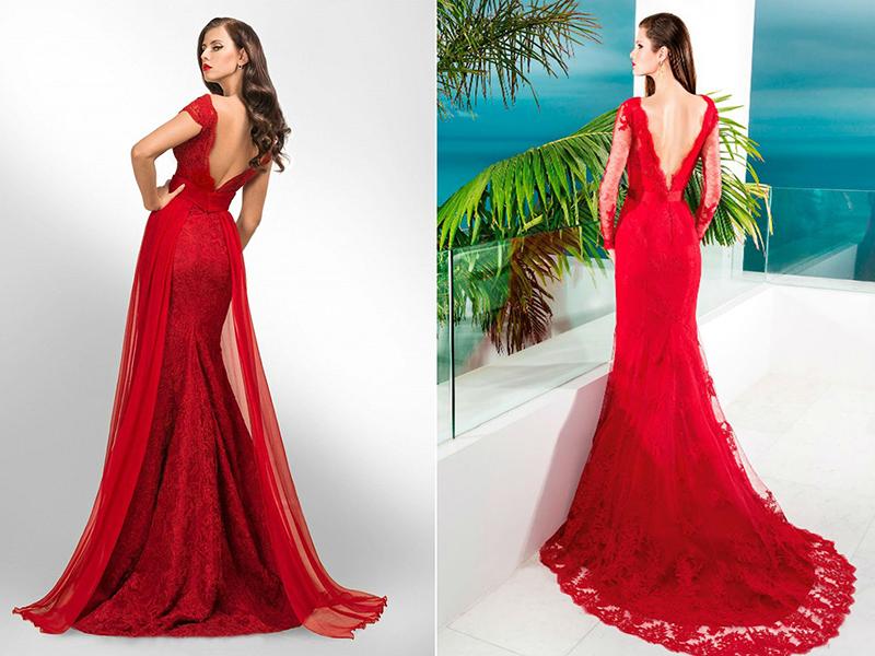 39aaed64b7f Невероятно эффектно выглядит красное кружевное полотно. Из этой ткани стоит  сшить платья со шлейфом лаконичных фасонов. Кружевное платье можно сделать  на ...