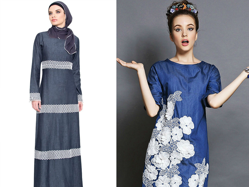 65e1beae27a Джинсовое платье с кружевом  актуальная