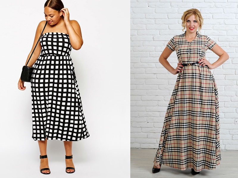 7d86fc30d1a Выбираем платья в клетку для полных женщин. Учитываем особенность ...