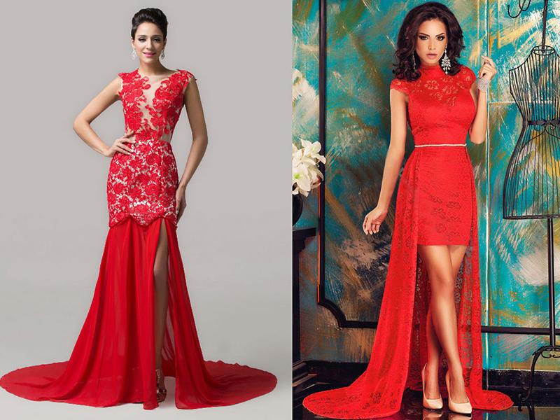 7c0786faa87 Длинные кружевные платья красного платья можно сшить со шлейфом. Эта деталь  может иметь достаточно скромную длину (15-20 см) или быть многометровой.