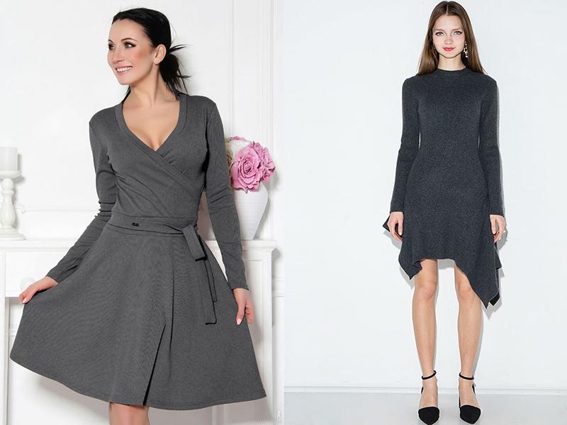 00bad8147189 Стильное и уютное серое трикотажное платье | Мода от Кутюр.Ru