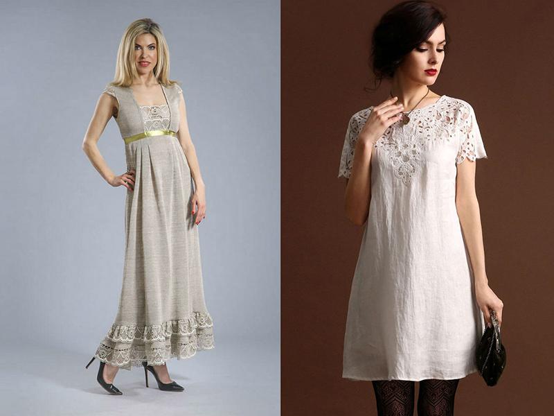 e897a1faafc Льняное платье с кружевом – практичность и красота образа