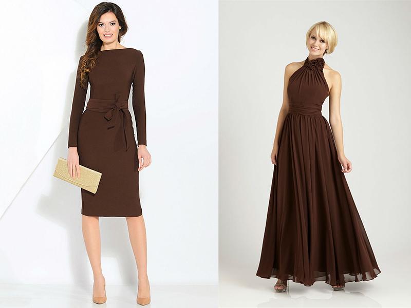f87aeef514c Великолепно смотрится коричневое платье-футляр без отрезной линии на талии