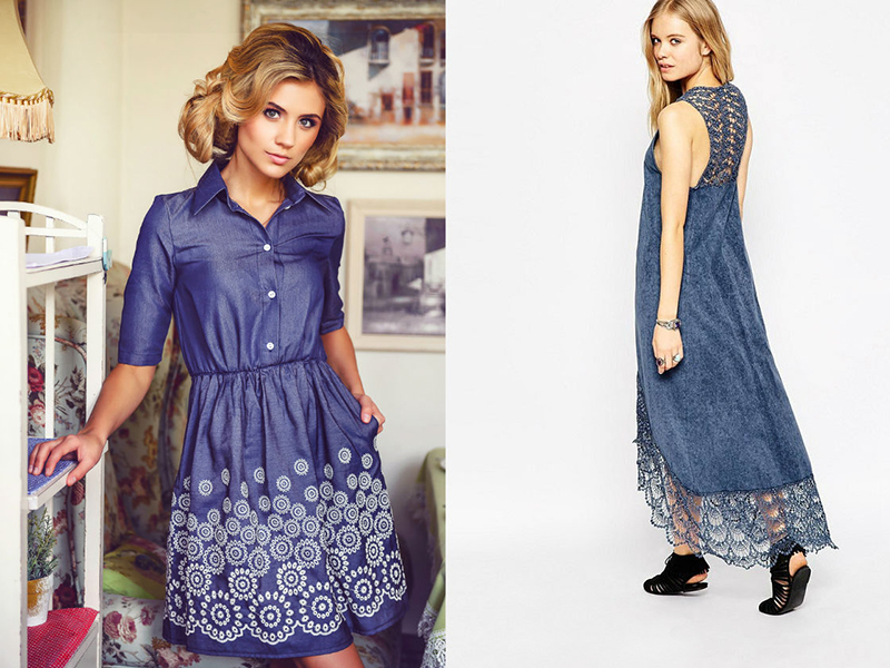7b1aa564dc9 Элегантно выглядит джинсовое платье с кружевом по низу. Это могут быть  кружевная гладь вдоль подола платья или хаотично расположенные фрагменты по  полотну ...