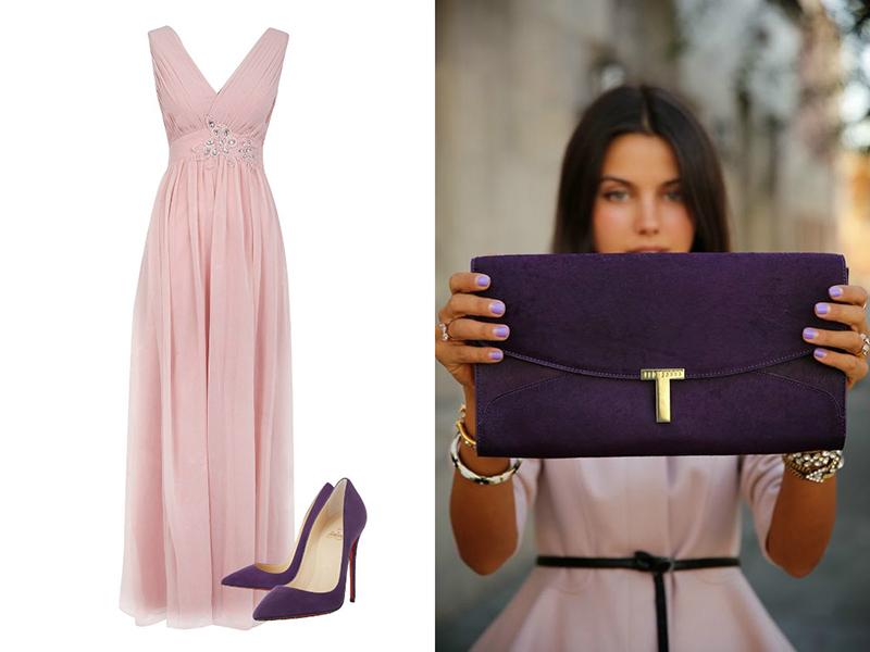 77895700c24 Бежевые аксессуары – безошибочный выбор для создания дневных луков на базе  длинного розового платья. В вечернем образе лучше использовать дополнения  цвета ...
