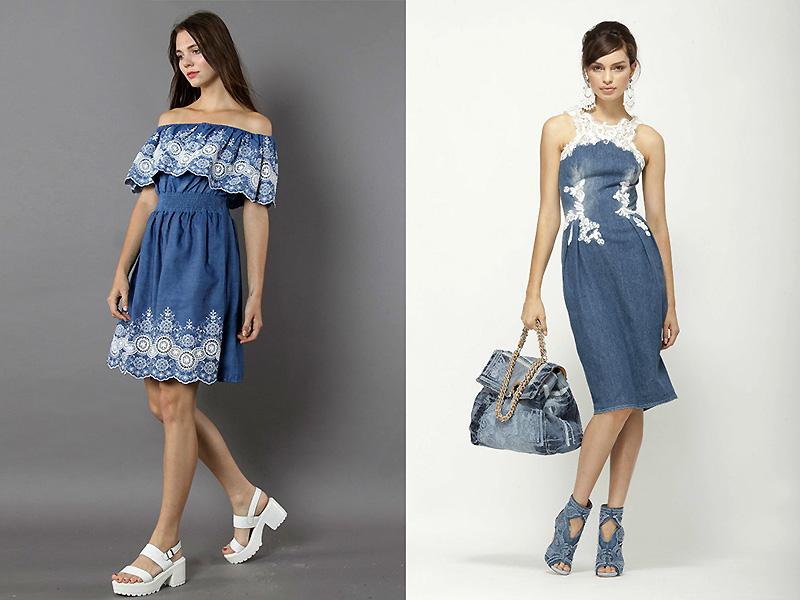 57730b31ac0 Джинсовое платье с баской и лоскутным кружевом по линии плеч и поясом в  горошек.