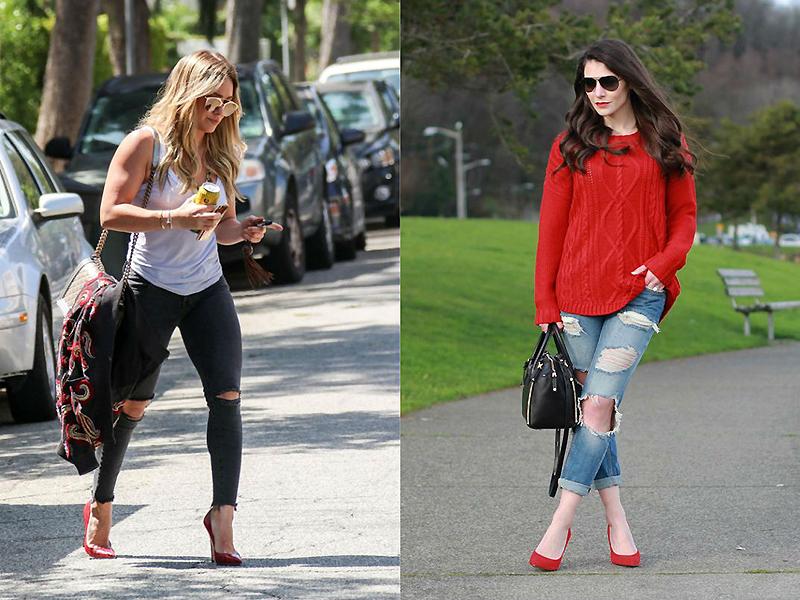 14b5873684a7705 Плохо сочетаются красные лодочки ансамблями в стиле треш, например, в  сочетании с растянутым свитером или рваными джинсами будут смотреться, как  чужеродный ...
