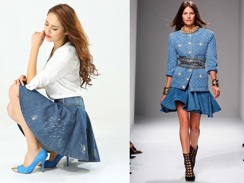 228dbeb8e55 Почему так популярна юбка-солнце из джинсовой ткани? Это изделие всегда  выглядит модно, экстравагантно и оригинально. Ультрамодные юбки с дырками,  ...