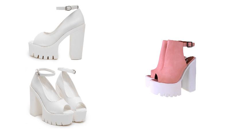 f8cf9011b В некоторых моделей туфель платформу не скрывают, а, напротив, используют  контрастные варианты отделки верха туфель и подошвы. Снова в моде туфли на  толстом ...